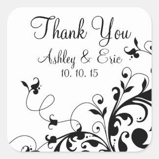 Black White Floral Swirl Wedding Favor Sticker