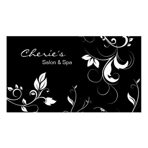 Black White Floral Swirls business card