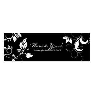 Black White Floral Swirls business card bookmark