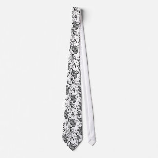 Black & White Floral Swirls & Butterflies Tie