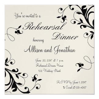 Black White Floral Swirls Rehearsal Dinner Invite