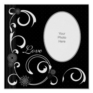 Black & White Floral & Swirls Scrapbook Page Poster