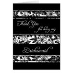 Black & White Floral Thank You Bridesmaid Card
