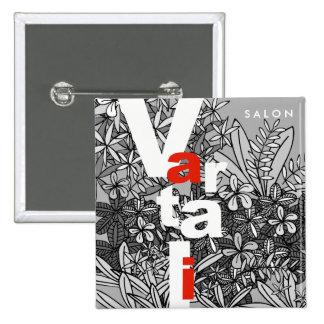 Black & White Floral Vartali Square Button