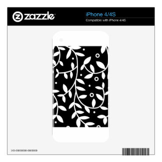 Black & White Floral Vines Contemporary iPhone 4S Decal