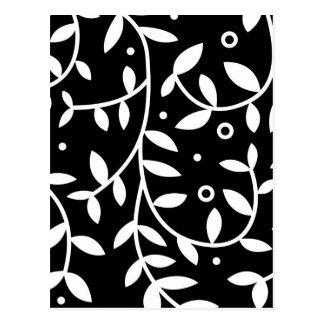 Black & White Floral Vines Contemporary Postcard