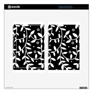 Black & White Floral Vines Contemporary Skin For Kindle Fire