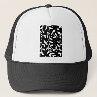 Black & White Floral Vines Contemporary Trucker Hat
