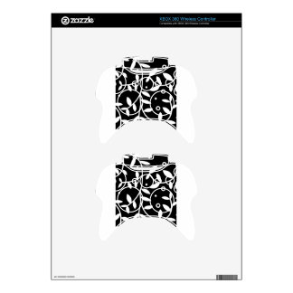 Black & White Floral Vines Contemporary Xbox 360 Controller Decal