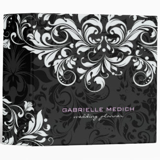 Black & White Floral Vintage Damasks 2 3 Ring Binder