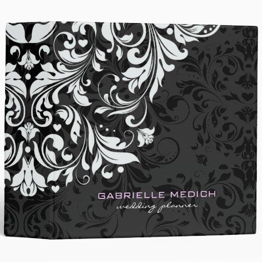 Black & White Floral Vintage Damasks Vinyl Binders