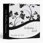 Black & White Floral Wedding Memories Binder