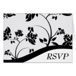 Black & White Floral Wedding RSVP card