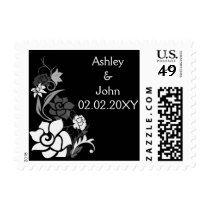 black&white floral wedding stamps