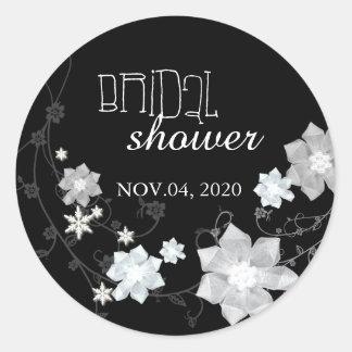 Black & White Floral Winter Bridal Shower Stickers