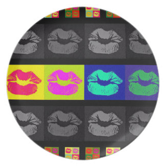 Black&White Florescent Lips Melamine Plate
