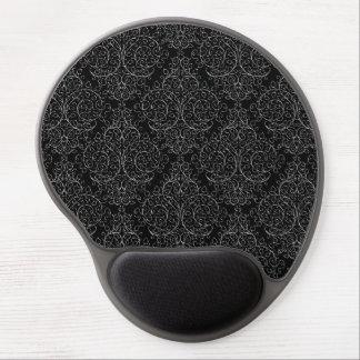 Black White Flourish Damask Gel Mousepad