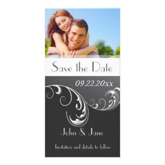 "Black & White Flourish/photo  ""Save the Date"" Card"