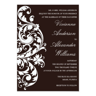 "BLACK & WHITE FLOURISH   WEDDING INVITATION 5"" X 7"" INVITATION CARD"