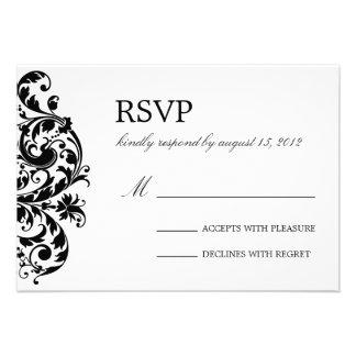 BLACK WHITE FLOURISH WEDDING RSVP CUSTOM INVITES