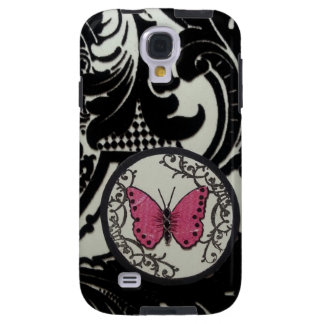 black & white flourishes pink butterfly galaxy s4 case