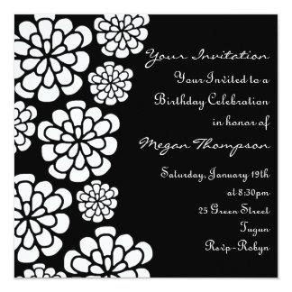 Black & White Flower Birthday Invitation