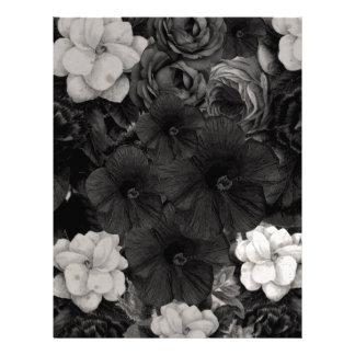 Black&White Flower Collage Letterhead