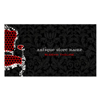Black & White Flower Damasks With Antiques Chair 2 Business Card Templates