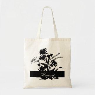 Black white flower Hawaii reusable souvenir bag