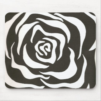 black white flower mouse pads