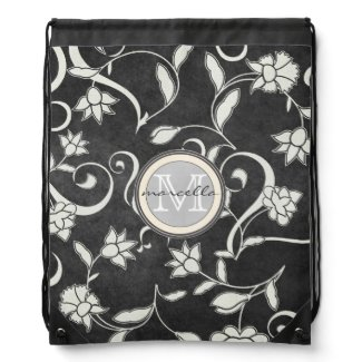 Black White Flower Swirls Monogram Cinch Bag