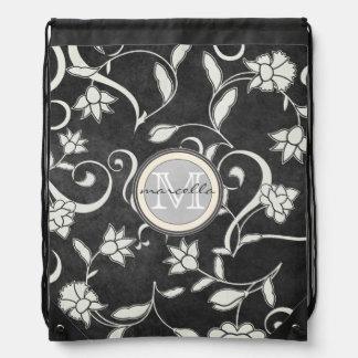 Black White Flower Swirls Monogram Drawstring Backpack