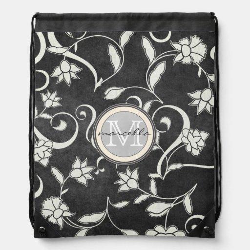 Black White Flower Swirls Monogram Backpacks