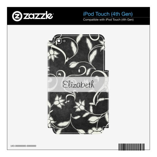 Black White Flower Swirls Stitched Vellum Decal For iPod Touch 4G