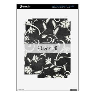 Black White Flower Swirls Stitched Vellum iPad 3 Decals