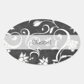 Black White Flower Swirls Stitched Vellum Sticker