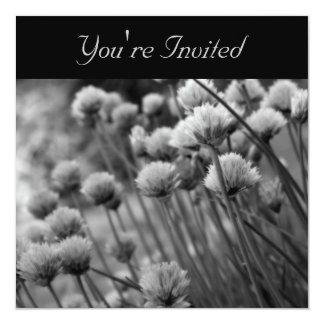 Black White Flowering Scallions Invitation