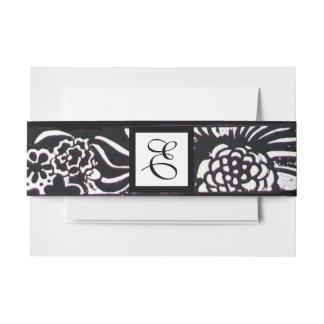 Black White Flowers and Shamrocks Floral Monogram Invitation Belly Band
