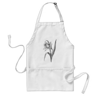 black white flowers daffodil vintage adult apron