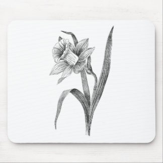 black white flowers daffodil vintage mouse pad