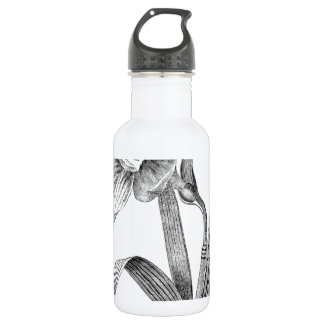 black white flowers daffodil vintage stainless steel water bottle