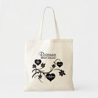 Black & White Flowers & Hearts Bride Squad Wedding Tote Bag