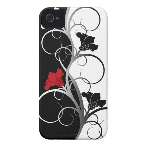 Black/White Flowers iPhone 4/4S Case-Mate Case iPhone 4 Case