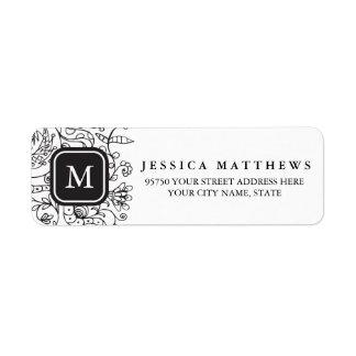 Black & White Flowers Personalized Monogram Label Return Address Label