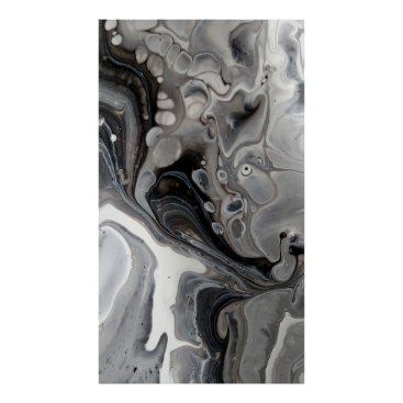 Art Themed Black White Fluid Marble Abstract Grey Silver Poster