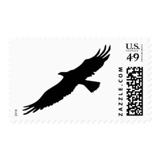 Black & White Flying Eagle Silhouette Postage