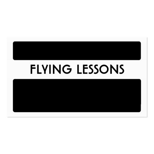 Black white flying lessons business cards