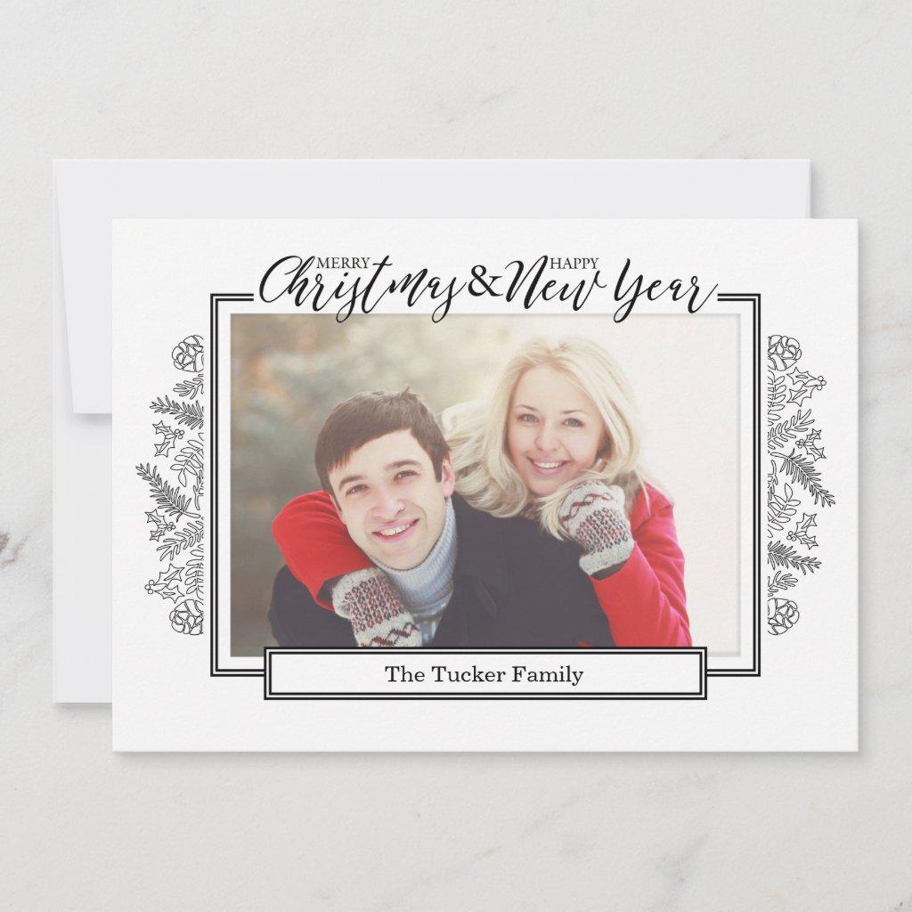 Black White Foliage, Collage Christmas Photo Card