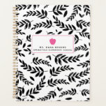 "Black   White Foliage Pink Apple Teacher Planner<br><div class=""desc"">A teacher planner featuring a sketchbook inspired black and white foliage design on front and back.  Front features custom text under illustration of a hot pink apple.</div>"