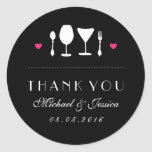 Black White Fork Spoon Wedding Thank You Sticker